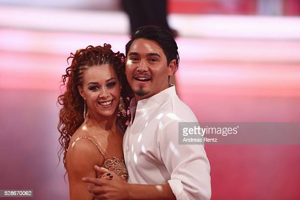 Erich Klann and Oana Nechiti smile during the 8th show of the television competition 'Let's Dance' on May 06 2016 in Cologne Germany