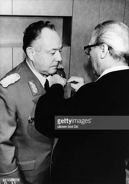 ' Erich Mielke East German politician state security minister candidate for the SED Central Committee and senior general receiving the honorary title...