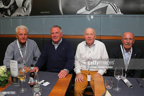 Erich Ribbeck Peter Reichel Erwin Stein and Wolfgang Solz members of the Club of Former National Players are seen prior to the EURO 2016 Qualifier...