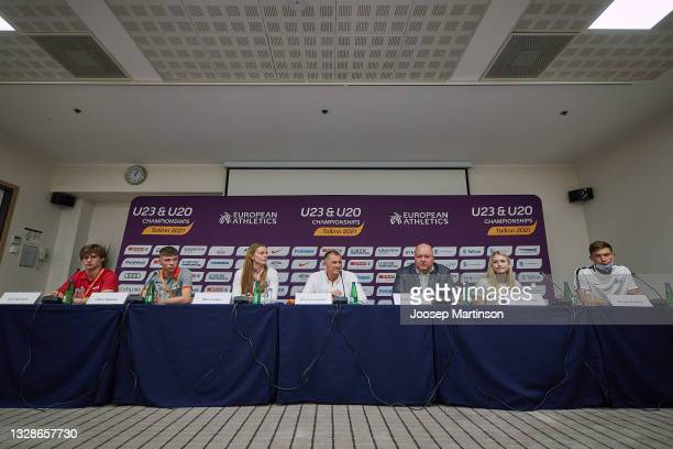 Erich Teigamägi speaks to the media during the European Athletics U20 Championships press conference at Radisson Blu Hotel Olümpia Tallinn on July...
