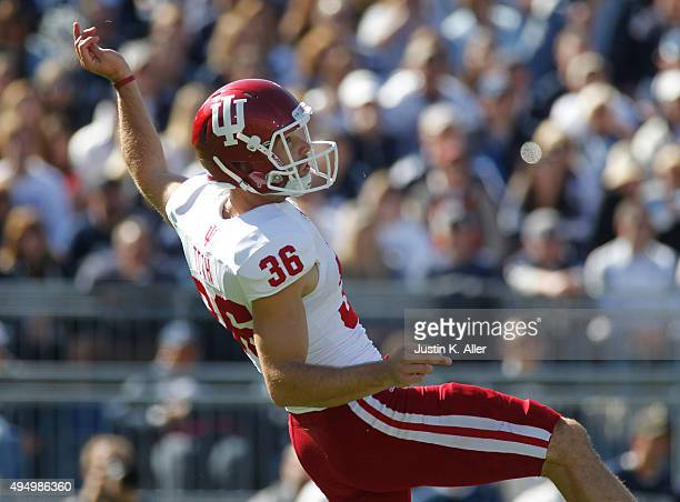 Erich Toth of the Indiana Hoosiers in action during the game against the Penn State Nittany Lions on October 10, 2015 at Beaver Stadium in State...