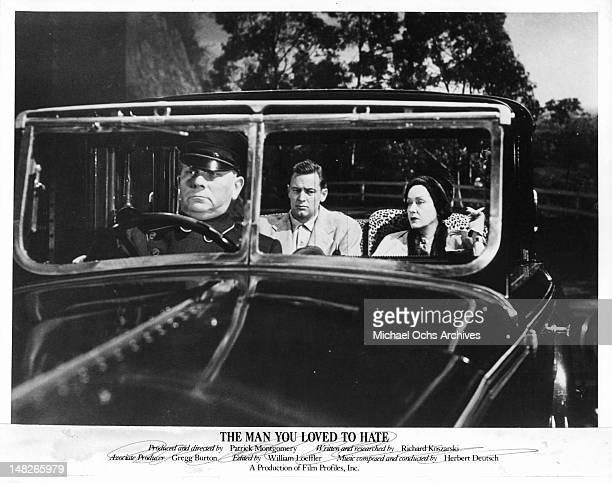 Erich von Stroheim driving William Holden and Gloria Swanson in a scene from the film 'Sunset Blvd' 1950