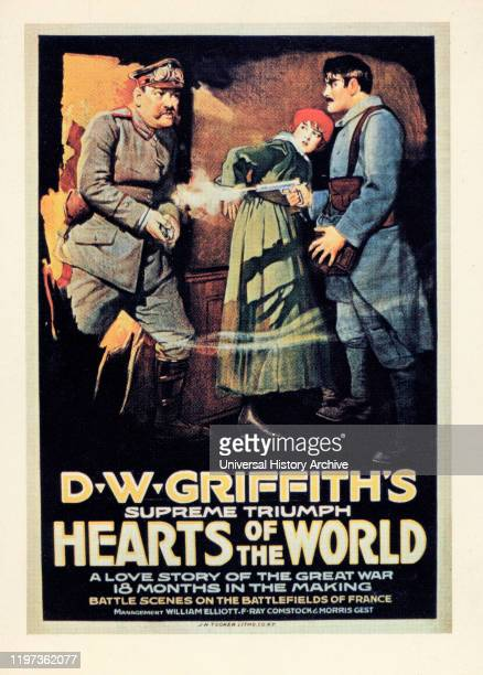 Erich von Stroheim Lillian Gish Robert Harron Publicity Poster for the DW Griffith's Silent Film Hearts of the World 1918