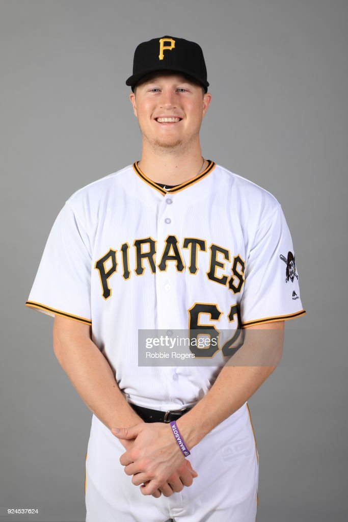 Erich Weiss #62 of the Pittsburgh Pirates poses during Photo Day on Wednesday, February 21, 2018 at LECOM Park in Bradenton, Florida.