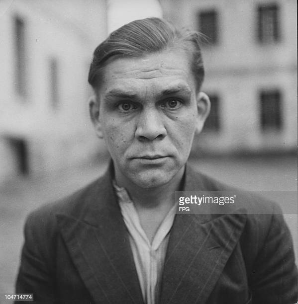 Erich Zoddel, a guard at the Bergen-Belsen concentration camp, Germany, circa 1945. Charged with war crimes and crimes against humanity, Zoddel is...