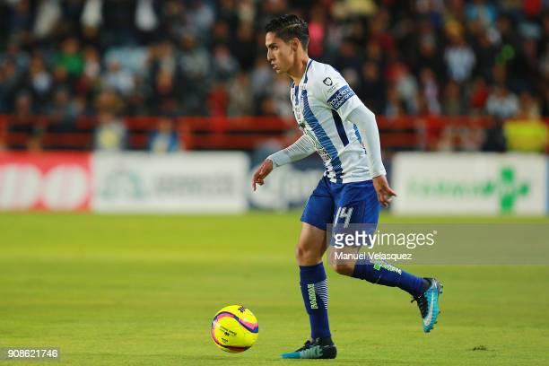 Erick Aguirre of Pachuca drives the ball during the 3rd round match between Pachuca and Lobos BUAP as part of the Torneo Clausura 2018 Liga MX at...
