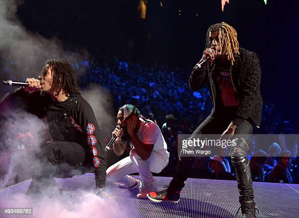 Erick Arc Elliott Zombie Juice and Meechy Darko of Flatbush Zombies perform onstage during TIDAL X 1020 Amplified by HTC at Barclays Center of...