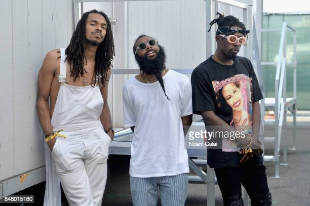 Erick Arc Elliott Zombie Juice and Meechy Darko of Flatbush Zombies pose backstage during the Meadows Music and Arts Festival Day 2 at Citi Field on...