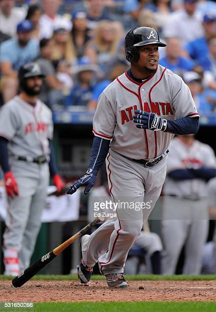 Erick Aybar of the Atlanta Braves hits a RBI single in the the ninth inning against the Kansas City Royals at Kauffman Stadium on May 15 2016 in...
