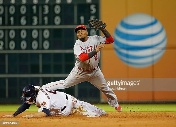 Erick Aybar of the Los Angeles Angels of Anaheim makes a play on Jake Marisnick of the Houston Astros at second base during the eighth inning of...