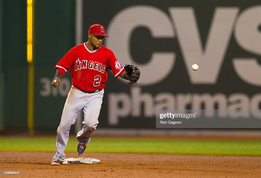 Erick Aybar #2 of the Los Angeles Angels of Anaheim watches the ball during the sixth inning against the Boston Red Sox during the sixth inning at Fenway Park on August 20, 2014 in Boston, Massachusetts.