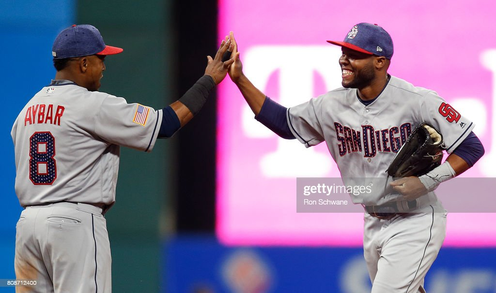 Erick Aybar #8 of the San Diego Padres and Manuel Margot #7 celebrate after defeating the Cleveland Indians 1-0 at Progressive Field on July 4, 2017 in Cleveland, Ohio.