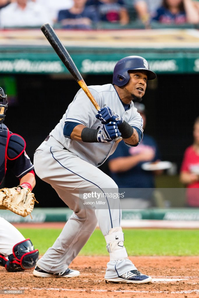Erick Aybar #8 of the San Diego Padres watches an RBI ground rule double to right during the fifth inning against the Cleveland Indians at Progressive Field on JULY 6, 2017 in Cleveland, Ohio.
