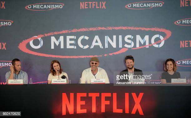 Erick Barmack Carol Abras Jose Padilha Selton Mello and Elena Soarez attend the press conference for the new Netflix series O Mecanismo at the...