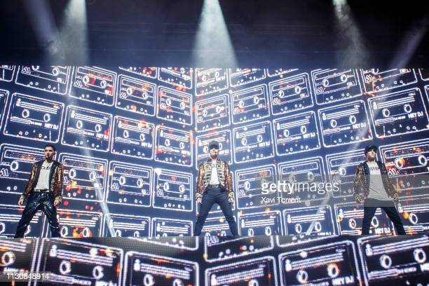 Erick Brian Colon Joel Pimentel and Christopher Velez of CNCO perform in concert at Sant Jordi Club on March 15 2019 in Barcelona Spain