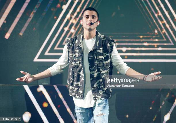 Erick Brian Colon of the musical group CNCO is seen performing on stage during Billboard En Vivo at The Temple House on September 12 2019 in Miami...
