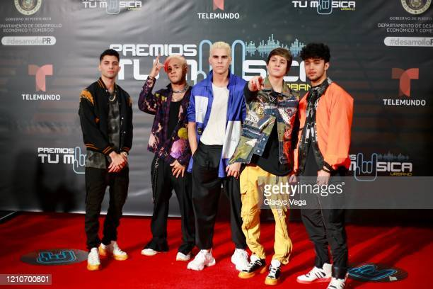 Erick Brian Colon, Richard Camacho, Zabdiel De Jesús, Christopher Vélez and Joel Pimentel of CNCO arrive to Premio Tu Musica Urbano at Coliseo Jose...
