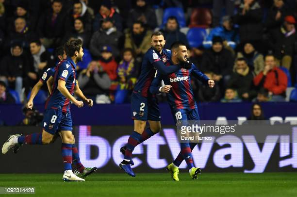 Erick Cabaco of Levante celebrates with Borja Mayoral as he scores his team's first goal during the Copa del Rey Round of 16 match between Levante...