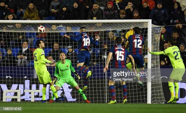 Erick Cabaco of Levante scores his team's first goal during the Copa del Rey Round of 16 match between Levante and FC Barcelona at Ciutat de Valencia...