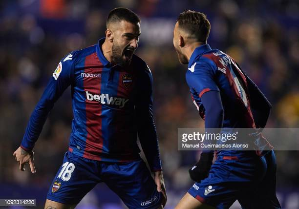 Erick Cabaco of Levante UD celebrates after scoring his side's first goal with his teammate Borja Mayoral during the Copa del Rey Round of 16 first...