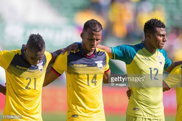 Erick Castillo of Ecuador, Dario Aimar of Ecuador and Goalkeeper Pedro Ortiz of Ecuador look on during the UEFA Euro 2020 qualifier between Ecuador...