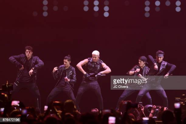 Erick Colon Zabdiel De Jesus Christopher Velez and Richard Camacho of CNCO perform onstage during Uforia's 'KLove Live' at The Forum on November 19...