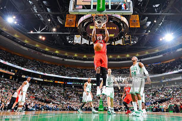 Erick Dampier of the Atlanta Hawks dunks against the Boston Celtics in Game Three of the Eastern Conference Quarterfinals during the 2012 NBA...