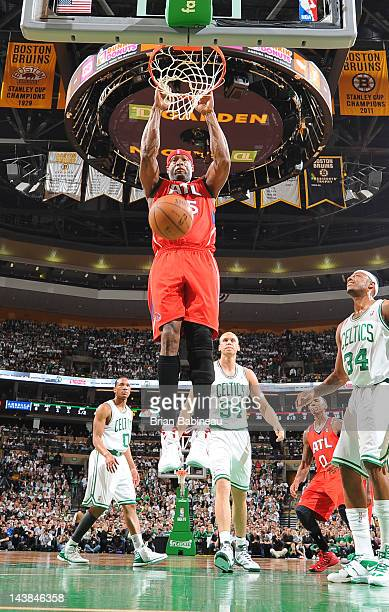Erick Dampier of the Atlanta Hawks dunks the ball against the Boston Celtics in Game Three of the Eastern Conference Quarterfinals during the 2012...