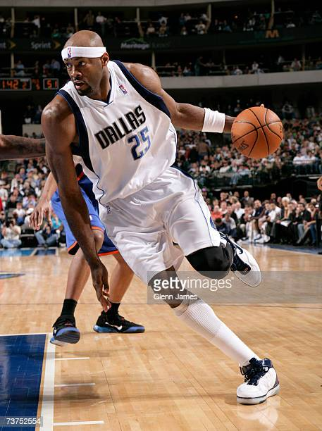 Erick Dampier of the Dallas Mavericks drives the ball against the New York Knicks on March 30 2007 at the American Airlines Center in Dallas Texas...
