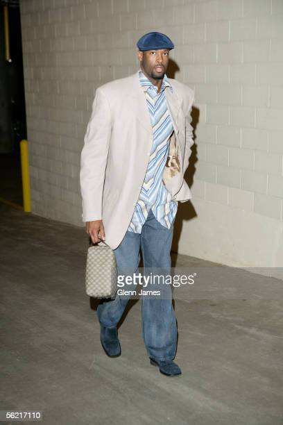 Erick Dampier of the Dallas Mavericks enters the arena before their game against the Atlanta Hawks at American Airlines Center on November 17 2005 in...