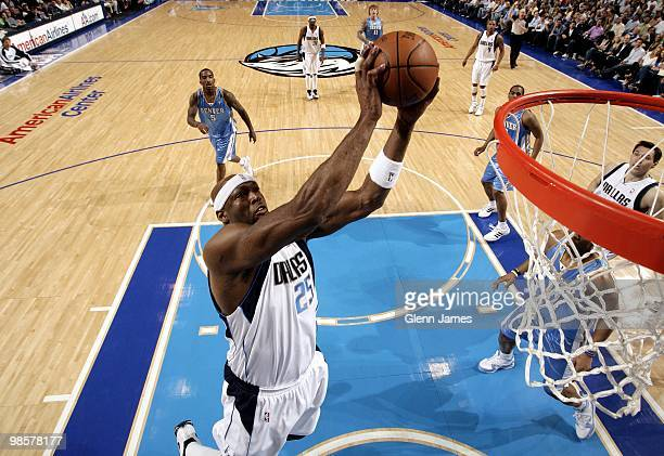 Erick Dampier of the Dallas Mavericks goes up with the ball against the Denver Nuggets during the game at American Airlines Center on March 29 2010...