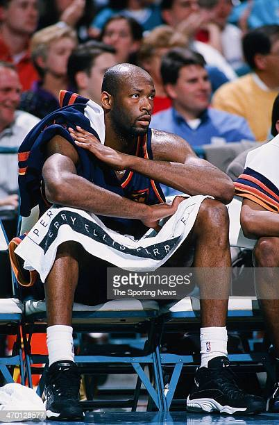 Erick Dampier of the Golden State Warriors during the game against the Charlotte Hornets on March 2 1998 at Charlotte Coliseum in Charlotte North...