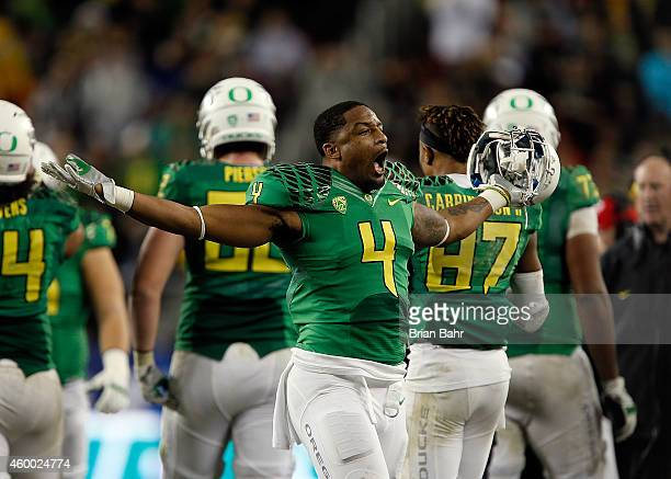 Erick Dargan of the Oregon Ducks celebrates with fans during the PAC12 Championships against the Arizona Wildcats at Levi's Stadium on December 5...