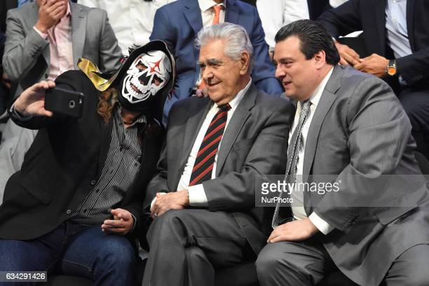 Erick del Castillo and La Parka are seen take a selfie at World Day Against Cancer at city hall on February 08 2017 in Mexico City Mexico