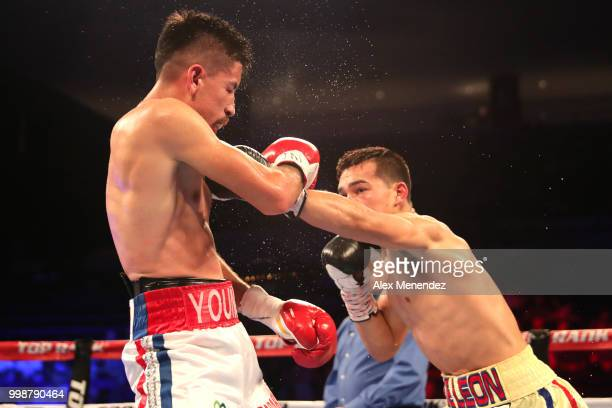Erick DeLeon lands a shot to the face of Adrian Young during the Regis Prograis v Juan Jose Velasco ESPN boxing match at the UNO Lakefront Arena on...