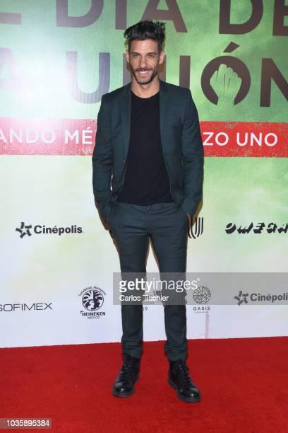 Erick Elías poses for photos during the film premiere 'El Dia de la Union' on September 12, 2018 in Mexico City, Mexico.