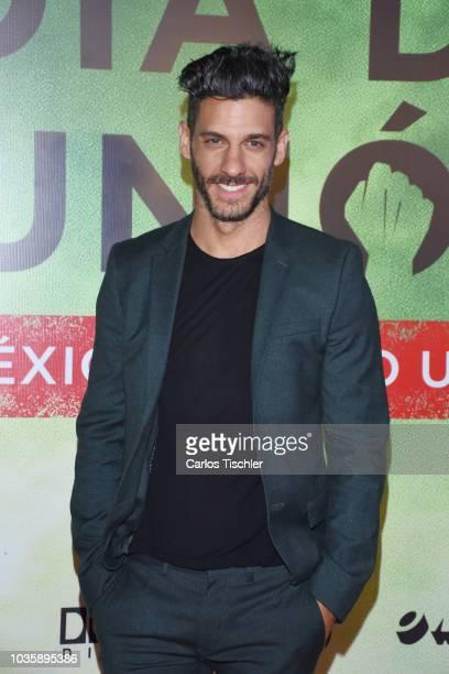 Erick Elías poses for photos during the film premiere 'El Dia de la Union' on September 12 2018 in Mexico City Mexico