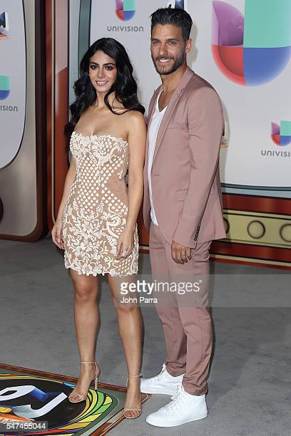 Erick Elias and Emeraude Toubia attend the Univision's 13th Edition Of Premios Juventud Youth Awards at Bank United Center on July 14 2016 in Miami...