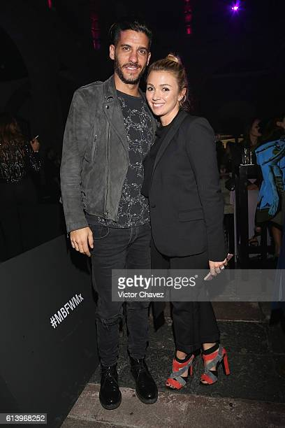 Erick Elias and his wife Karla Guindi attend the first day of MercedesBenz Fashion Week Mexico Spring/Summer 2017 at Ex Convento De San Hipolito on...