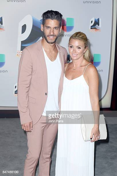 Erick Elias and Karla Guindi attend the Univision's 13th Edition Of Premios Juventud Youth Awards at Bank United Center on July 14 2016 in Miami...