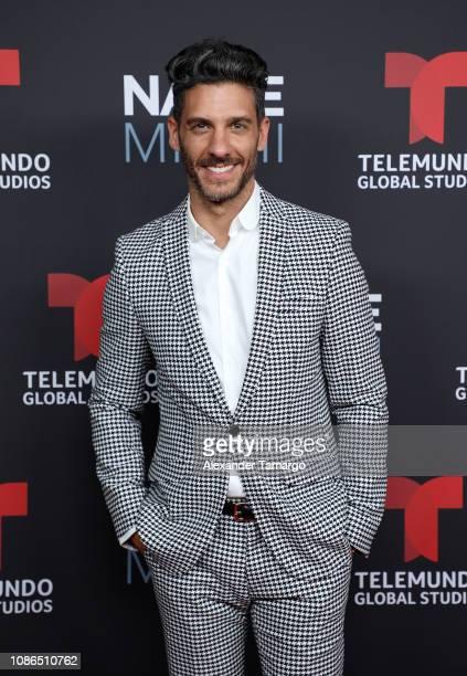 Erick Elias arrives at Telemundo Global Studios Celebration during NATPE Miami 2019 at the Eden Roc Hotel on January 22 2019 in Miami Beach Florida