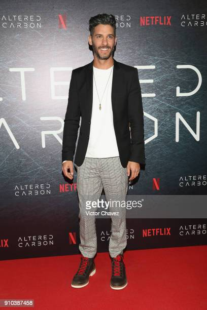 """Erick Elias attends the premiere of Netflix's """"Altered Carbon"""" at El Plaza Condesa on January 25, 2018 in Mexico City, Mexico."""