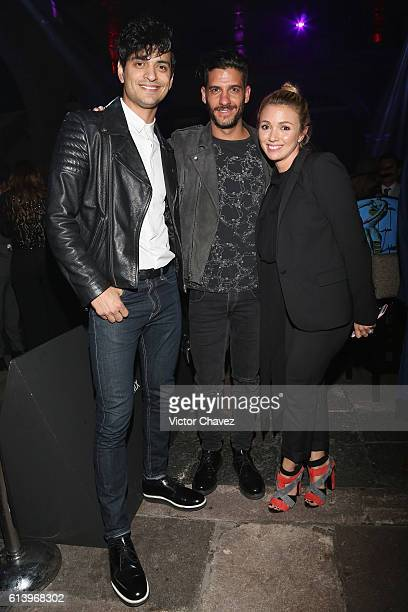 Erick Elias Bibi Marin of Reik and Karla Guindi attend the first day of MercedesBenz Fashion Week Mexico Spring/Summer 2017 at Ex Convento De San...