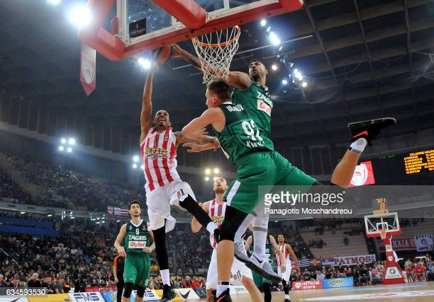 Erick Green #1 of Olympiacos Piraeus in action during the 2016/2017 Turkish Airlines EuroLeague Regular Season Round 22 game between Olympiacos...