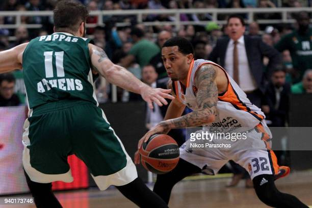 Erick Green #32 of Valencia Basket in action during the 2017/2018 Turkish Airlines EuroLeague Regular Season Round 29 game between Panathinaikos...
