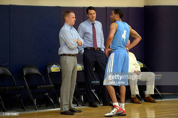 Erick Green Virginia Tech chats with the Nuggets new General Manager Tim Connelly and and President Josh Kroenke during the Denver Nuggets invite to...