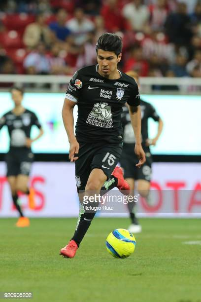 Erick Gutierrez of Pachuca drives the ball during the 8th round match between Chivas and Pachuca as part of the Torneo Clausura 2018 Liga MX at Akron...