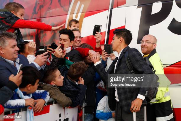 Erick Gutierrez of PSV arrives with the players bus during the Dutch Eredivisie match between PSV v FC Emmen at the Philips Stadium on October 20...