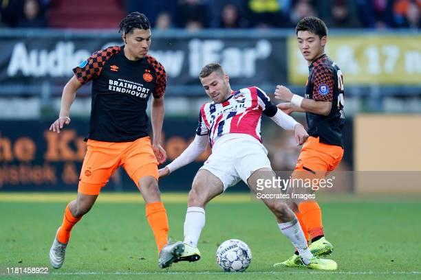 Erick Gutierrez of PSV Bart Nieuwkoop of Willem II Ritsu Doan of PSV during the Dutch Eredivisie match between Willem II v PSV at the Koning Willem...