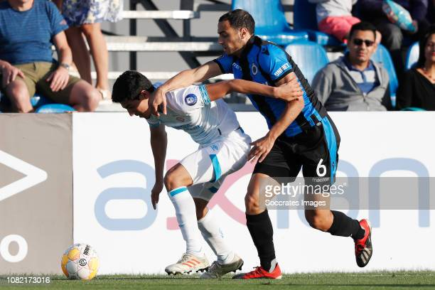 Erick Gutierrez of PSV Sofyan Amrabat of Club Brugge during the Club Friendly match between PSV v Club Brugge on January 11 2019 in Doha Qatar